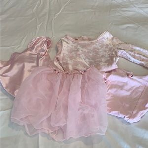 Bundle of 3 pink leotards and one skirt